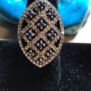 Jewelry - Topaz and sapphire sterling silver vintage ring